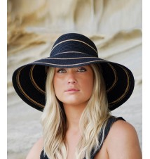 Wallaroo Hat Company Savannah Black Camel Stripes