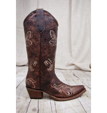 Women's Circle G By Corral Boots® Bone Distressed Dragonfly