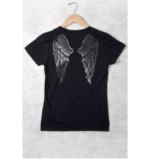 Women's Country Girl® Silver Angel Wings Short Sleeve Tee