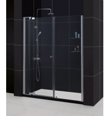 "DreamLine Allure 54 to 61"" Frameless Pivot Shower Door, Clear 3/8"" Glass Door, Chrome Finish"