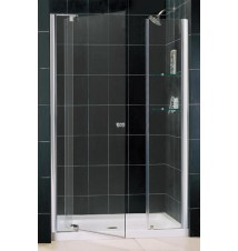 "DreamLine Allure 42 to 49"" Frameless Pivot Shower Door, Clear 3/8"" Glass Door, Chrome Finish"