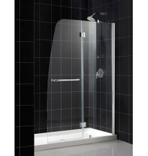 "DreamLine Aqua Frameless Hinged Shower Door and SlimLine 30"" by 60"" Single Threshold Shower Base"