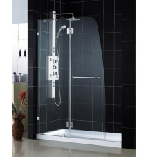 "DreamLine AquaLux Frameless Hinged Shower Door and SlimLine 32"" by 60"" Single Threshold Shower Base"