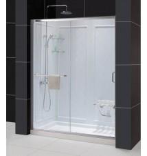"""DreamLine Infinity-Z Frameless Sliding Shower Door, 30"""" by 60"""" Single Threshold Shower Base and QWALL-5 Shower Backwall Kit"""