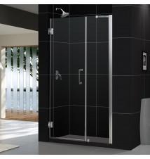 """DreamLine Unidoor 47 to 48"""" Frameless Hinged Shower Door, Clear 3/8"""" Glass Door"""