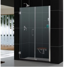 "DreamLine Unidoor 58 to 59"" Frameless Hinged Shower Door, Clear 3/8"" Glass Door"