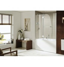 "Paragon Bath Extender Panel with AURORA - Premium 3/8 in. (10mm) Thick Glass, Size: 48""W x 58""H, Frame-less Glass Design, Chrome Hardware Finish, One Glass Shelf, Limited 10 (Ten) Year Manufacturer Warranty"