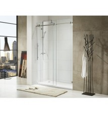 "Paragon Bath, TRIDENT LUX - Premium 3/8 in. (10mm) Thick Glass, Size: 59""W x 72""H, Frame-less Sliding Shower Door, Polished Stainless Steel Chrome Finish Hardware, Limited 10 (Ten) Year Manufacturer Warranty"
