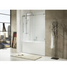 "Paragon Bath, TRIDENT - Premium 3/8 in. (10mm) Thick Glass, Size: 59""W x 62""H, Frame-less Sliding Shower Door, Polished Stainless Steel Chrome Finish Hardware, Limited 10 (Ten) Year Manufacturer Warranty"