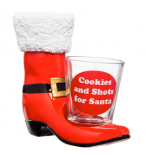 Cookies And Shots For Santa High Heel Shoe and Shot Glass Shoeter #014