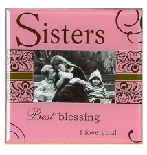 *Sister* Pink Glass Photo Frame