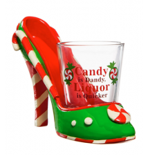 Candy Is Dandy Liquor Is Quicker High Heel Shoe and Shot Glass Shoeter