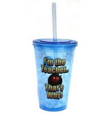 *Teacher* Acrylic Drinking Cup With Straw