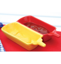 Ceramic Ketchup And Mustard Condiment Holder