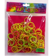Fun Loops Tye Dye Glitter Bands #112- Green/Yellow/Pink