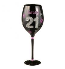 Birthday Wine Glass Totally 21 From Grasslands