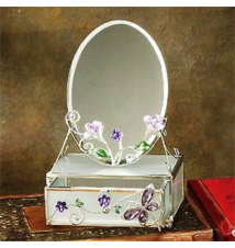 Crystal Butterfly Trinket Box with Mirror #5