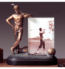 Bronze Golfer Frame With Figurine