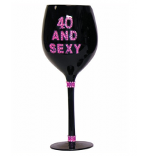 Black 40 And Sexy Bling Wine Glass
