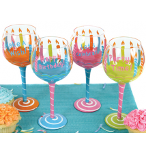Birthday Candles Hand Painted Wine Glass