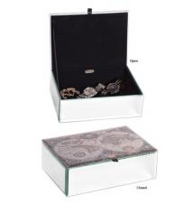 Atlas Mirrored Glass Antique Map Jewelry Box