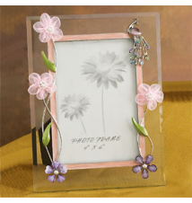 Glass Peacock Picture Frame