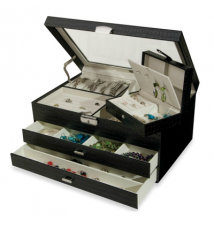 Glass Top & Croco Faux Leather Jewelry Box - Alana - Black #169