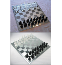 15* Mirror Board Chess Set With Black and White Frosted Pieces