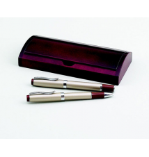 Double Pen Set in Curved Wooden Box