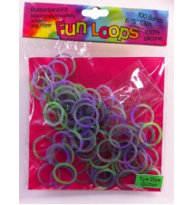 Fun Loops Tye Dye Glitter Bands #114- Purple/Green