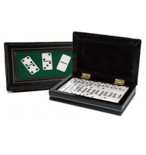 CHH  Double 6 Domino in Black Leatherette Case