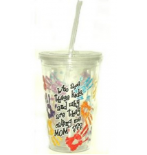 *Who Are These Kids* Acrylic Drinking Cup With Straw