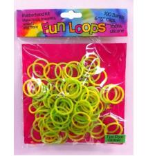 Fun Loops Tye Dye Glitter Bands #110- Green/Yellow