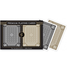 Black And Gold Premium Plastic 2 Deck Playing Cards