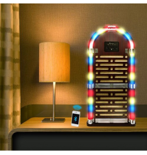 Crystal View Retro Epic JukeBox With Bluetooth & FM Tuner - Classic Wo