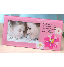 5* x 10* Pink With Flowers My Mom Photo Frame