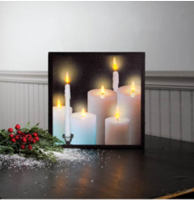 Flickering Light Canvas WallArt #028- Lighted Tapers And Pillars