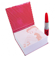 Betty Boop Memo Pad W/Lipstick Pen Polka Dot