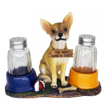 El Caliente Chihuahua Dog Salt & Pepper Shaker Shakers Set #186