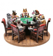 Dogs Playing Poker Ceramic Figurine
