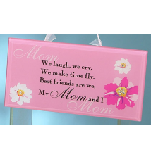 5* x 10* Pink With Flowers My Mom Plaque