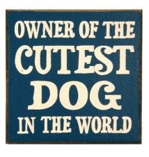*Owner Of the Cutest Dog In The World* 5* x 5* Wooden Block Sign