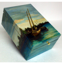 Coromandel Arts Lost At Sea On Calm Waters Jewelry Treasure Box #245