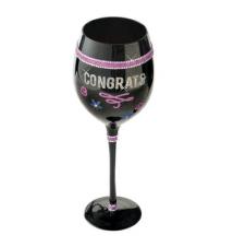 *Congrats* Black Bling Wine Glass