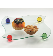 Badash Crystal Art F3035 Moonglow Platter With Colored Ball Legs
