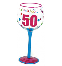 Fabulous 50 - Hand Painted Wine Glass