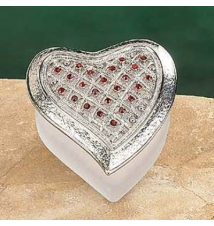 Frosted Glass Heart Shaped Trinket Box #98