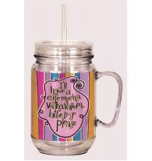 Cafe Mocha Acrylic Mason Jar With Straw
