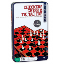 Checkers Chess & Tic Tac Toe In A Tin