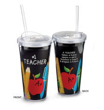 *#1 Teacher* Acrylic Cup With Straw